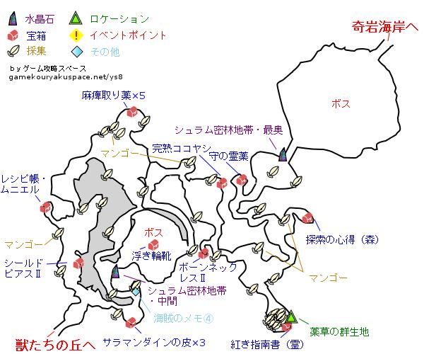 イース8 シュラム密林地帯 攻略マップ